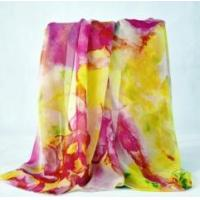 China Digital print silk scarf Custom digital printed 100% silk chiffon shawl on sale