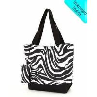 Quality Monogrammed Beach & Pool Tote - Insulated - Black & White Zebra Print for sale