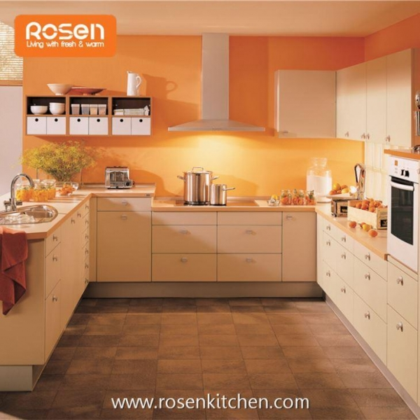 Buy Vinyl Wrapped MFC Wood Grain Melamine Faced Chipboard Door Kitchen Cabinets at wholesale prices