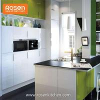 Quality Kitchen Storage Wall Cabinets with White Stained Glass Doors for sale