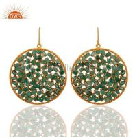 China Gold Plated Sterling Silver Emerald Earrings on sale
