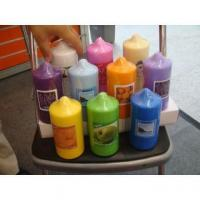 China pressed colorful Pillar candle on sale