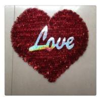 China Valentine's Day Red Tinsel Heart Home Wall Decorations with Love on sale