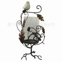 China Metal Candle Holder With Glass Table Decoration on sale