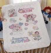 China Raggedy Ann & Andy Baby Heart-to-Heart Quilt / Crib Cover Cross Stitch Kit on sale