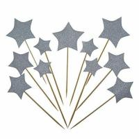 China Bilipala Gold Star Cake Cupcake Decorations Toppers Picks Supplies, Appetizer Picks, 24 Counting on sale