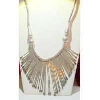 Jewelry Silver Bead and Bib Tribal Style Necklace