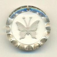 Quality Drops & Pendants 0469-4625mm Frosted Clear Butterfly Pendant for sale