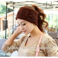 China Fashion Accessories Best Selling Coffee Women Crochet Knitted Winter Headband on sale