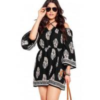 China New Arrivals Plus Size Floral Print Bardot Neck Black Off-shoulder Dress on sale