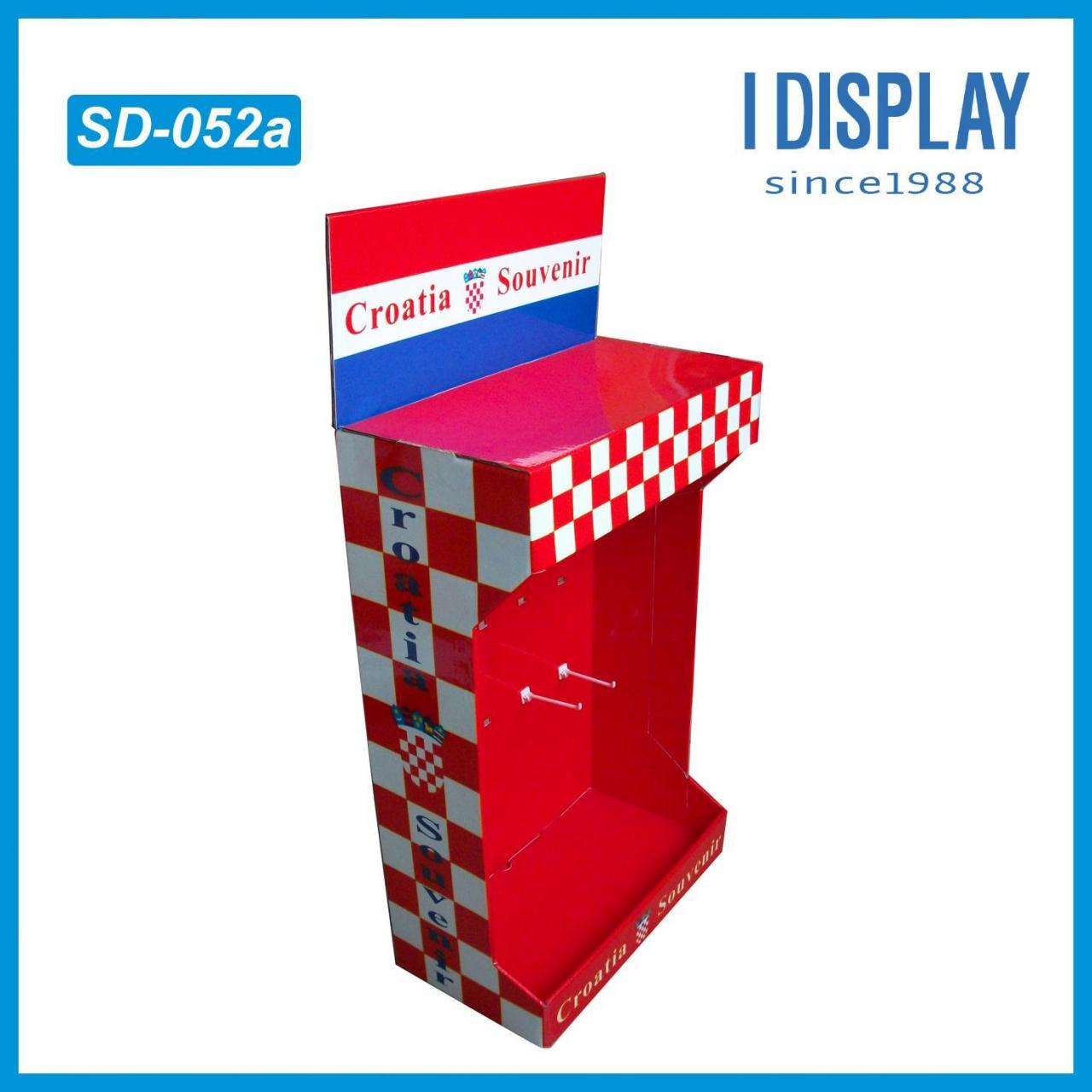 Best Corrugated paper display stand for souvenirs display with hook wholesale