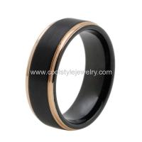 China Mens Wedding Band Two Tone Black Tungsten Ring 8mm Rose Gold Edge Comfort Fit on sale