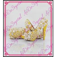 China Aidocrystal High quality yellow crystal matching italian shoe and bag set for party on sale