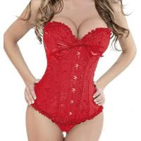 Buy cheap Plus Size Sexy Lace up Satin Boned Corset Clubwear Bridal Lingerie + G-string Red 819 from wholesalers