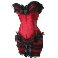 Buy cheap Satin Lace up Boned Showgirl Corset Padded Cup Underwear Lace Trim + Mini Skirt 068 from wholesalers