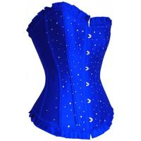 Buy cheap Plus Size Sequin Clubwear Body Shaper Corset Satin Rhinestone Lingerie Bustier Blue 804 from wholesalers