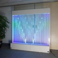 China Stainless Steel Indoor Long Table Modern Color-changing LED Bubble Wall Fish Tank Coffee Bar on sale