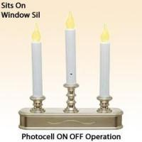 China Pewter 3 Tier Window Candle with Photocell On and Off on sale