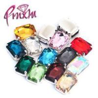 China 10x14mm Colors Rectangle Octagon Rhinestones Sew on Silver Claw Flatback Loose Crystal for Sale on sale