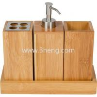 Best Bath set bath caddy bamboo bath accessories set with toothbrush rack and bamboo soap dispenser wholesale