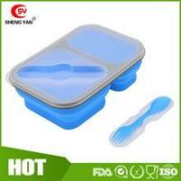 Quality Can print logo Collapsible 2 compartment silicon lunch box for student for sale