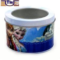 Quality Small Oval Customized Design Watch Tin Canister with PET Window for sale