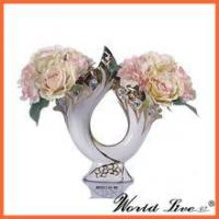 Quality high-end beautiful white and gold chine bonze poicelain wedding decoration vase with 2 holes for sale
