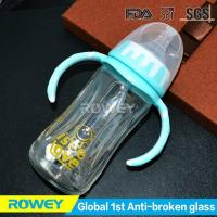 Best Anti-broken Glass Blue Baby Bottle | Mini Blue Baby Bottles With Breast-shaped Nipple wholesale