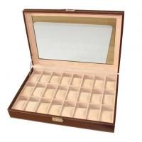 Quality 24 Slots Mens Watch Box PU Leather Watch Case Glass Top Watch Display Organizer for sale