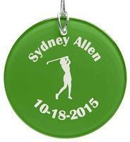 Quality Christmas Decor Personalized Ladies Green Glass Christmas Golf Ornament for sale