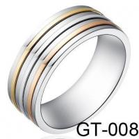 China New Tungsten Rings Tri-tone Gold & Silver Inlay Tungsten Ring GT-008 on sale