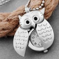 Quality Silver plated pendant necklace owl necklace pocket watch Umhngeuhr for sale