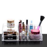 China Crystal Cosmetic Organizer with drawer Clear Makeup Jewelry Cosmetic Storage Display Box A214 on sale