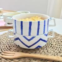 Porcelain Soup Bowl with Two Handles Baby Dessert Bowl