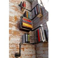 China American Countryside Bended Black Iron Hose Creative Wall Mounted Bookshelves on sale