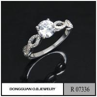 China R7336 925 Silver 1CT Diamond Jewelry Engagement Ring Jewelry on sale