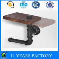 China Industrial Vintage Style Reclaimed Wood and Pipe Toilet Paper Holder Roller on sale