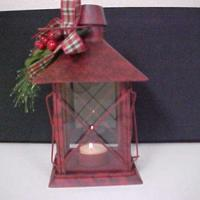 China TEA LIGHT CANDLE LANTERNS-RED METAL-GLASS WINDOWS on sale