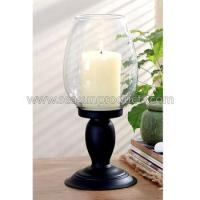 China decoration glass candle lamp with metal base on sale
