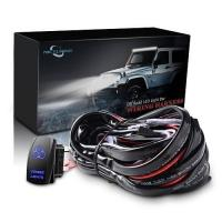 China MICTUNING LED Light Bar Wiring Harness 30A Fuse Blue Laser Zombie light Rocker Switch (2 Lead 12ft) on sale