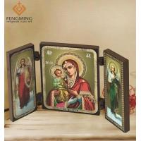Quality Three frame byzantine art virgin mary images and greek icon Religious for sale