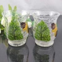 China New item update everyday Ice cracks Decal Glass Lantern Candle Holder on sale