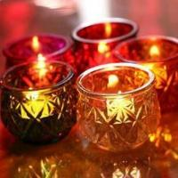 Buy cheap Color embossed glass tea candle wax holder from wholesalers