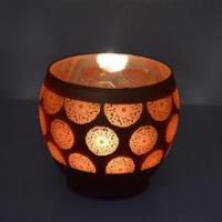 Buy cheap Electroplating laser engraving large size glass candle holder from wholesalers