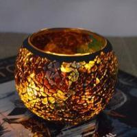 Best christmas ball colored mosaic glass ball candle holder wholesale
