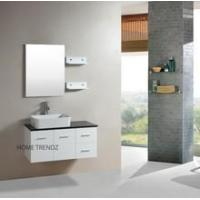 China Floating 36-inch White Cabinet Wall-mount Bathroom Vanity w Mirror and Shelves on sale