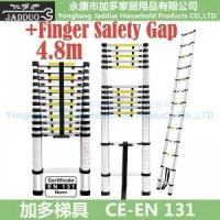 Quality 4.8m Single Telescopic ladder with Finger Safety Gap for sale