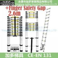 Quality 2.6m Single Telescopic ladder with Finger Safety Gap for sale