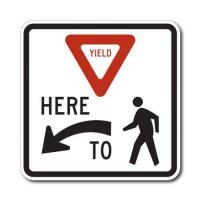 Quality Construction Signs R1-5 Yield Here To Pedestrians for sale
