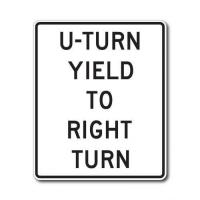 Quality Construction Signs R10-16 U-Turn Yield to Right Turn for sale